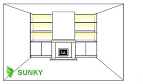 Thiết kế đèn LED chiếu sáng kết hợp đồ nội thất phòng khách