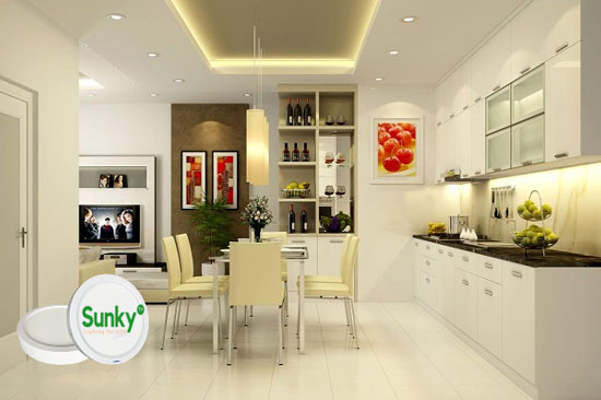 Lựa chọn và bố trí đèn led âm trần cho phòng bếp