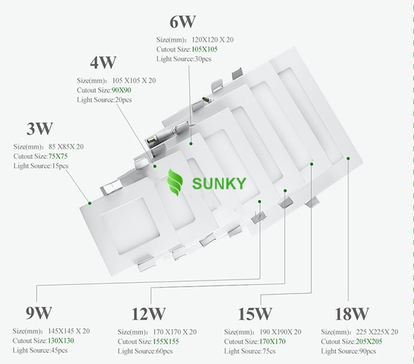 kích thước đèn LED âm trần vuông